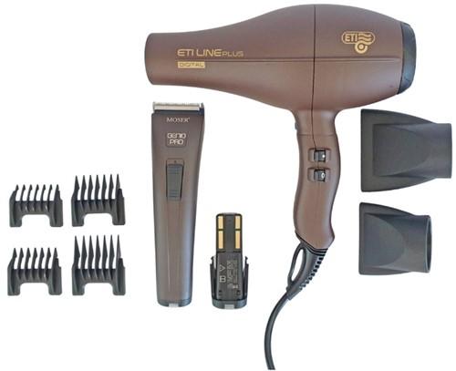 Moser Genio Pro + ETI Line Plus Brushless föhn combipack